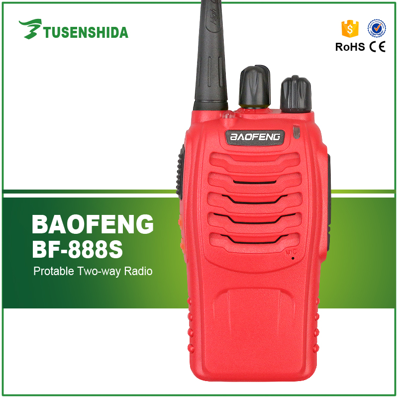 Red FM Two Way Radio Baofeng 888s Amateur Radio with High IIIumination Flashlight Transceiver