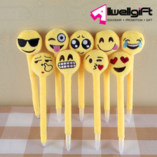 Yellow Round Shape Face Emoji Plush Pen for Promotion Gift Souvenir