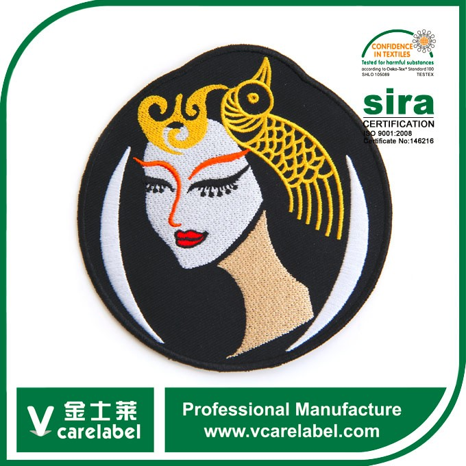 Cartoon Queen Design Round Twill Garment Embroidered Patches