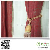 High quality Linen look hotel project Flame retardant curtain fabric