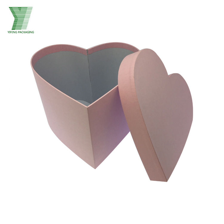 Elegant custom logo heart shaped paper rose packaging box for flowers