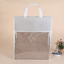 Factory price shopping gift cosmetic pvc handle bag with customized