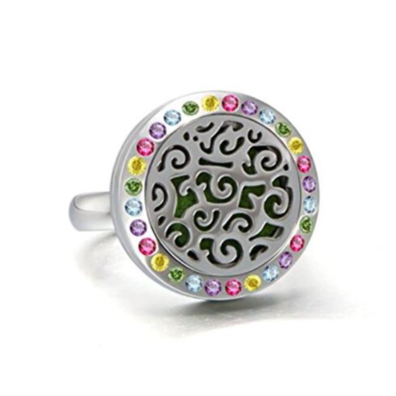 Yiwu Meise Essential Oil Diffuser Ring/Multi Colored Rhinestone Aromatherapy Stainless Steel Locket Ring