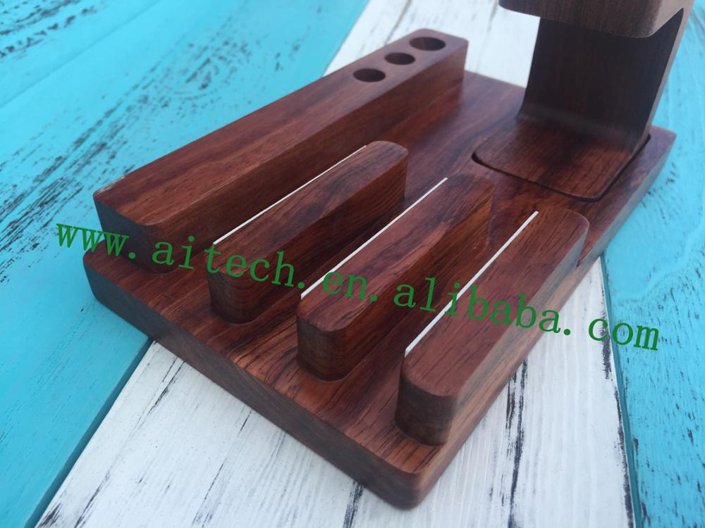 Bamboo desktop storage tray for ipad cell phone watch, wooden stationery holder