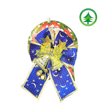 Wholesale blue and golden trim ribbon christmas bow with gold bell decoration ,christmas ornaments