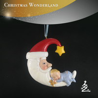 Baby sleep on the moon Santa Claus christmas hanging decoration