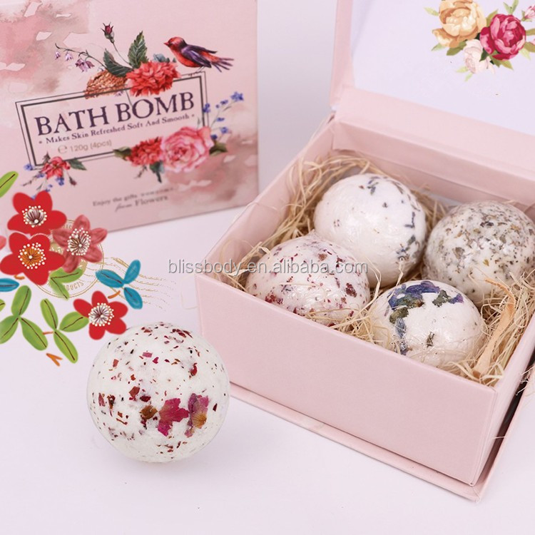 Luxury 2PCS large Bath Fizzies Bath Bomb with rose Essential Oil
