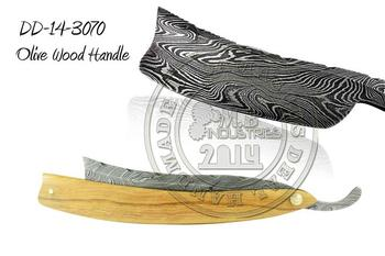 Damascus Steel Straight Razor Olive Wood Handle DD-14-3070