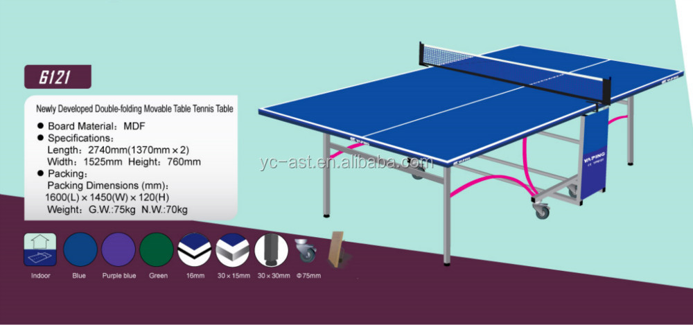 Newly Developed Double-folding Movable Ping pong Table (6121)