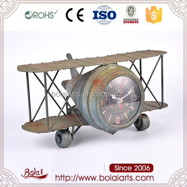 Promotional do old classical airplane design green rust iron clock