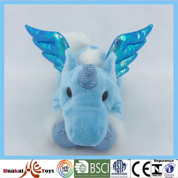 "GDL5045-3A 8"" stuffed flying unicorn toy lying shape toy for boy"