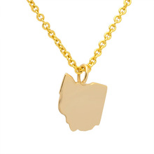 China Factory Custom Map 24k gold pendant Necklaces jewelry