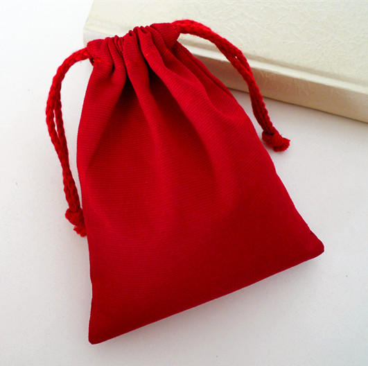 Custom Logo Promotional Printing Small Red Backpack Drawstring 100% Cotton Bag