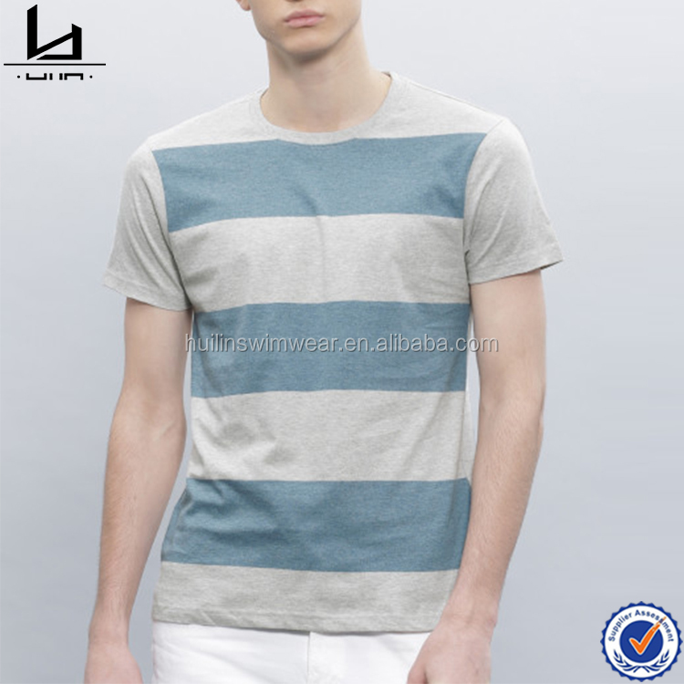 Latest stripe mens t shirts bule striped tee rounded neck gym t shirt dongguan clothing