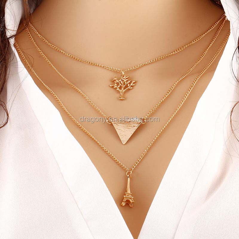 2016 Hot selling delicate dubai gold chain necklace 3 layered leaf triangle charms pendant trendy jewelry