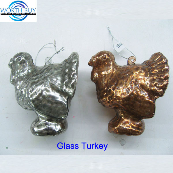 Vintage silver or brown turkey decoration glass ornament for Christmas or Thanksgiving day