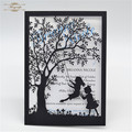 laser cut wedding invitations tree and Girl's swing pearl freshers party invitation cards