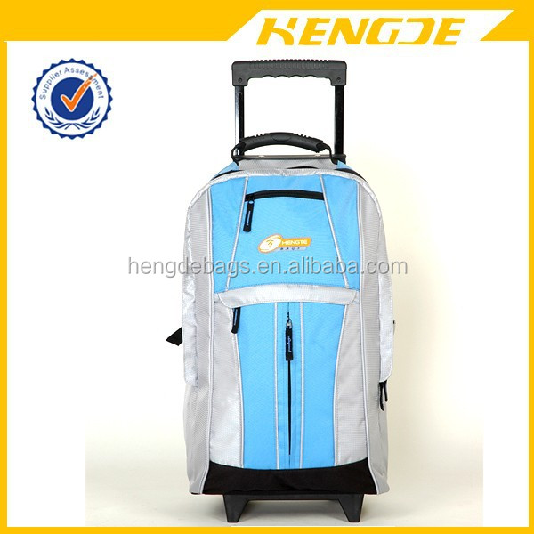 high quality school trolley backpack with detachable wheels