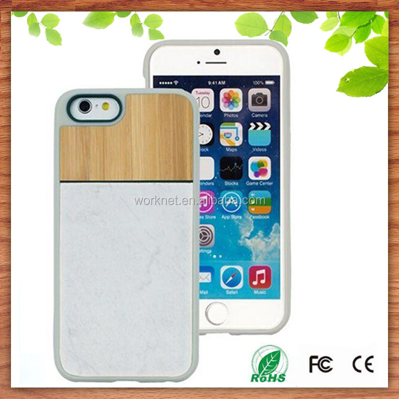 2015 new Christmas gift natural marble stone bamboo cell phone hard case for iphone 6 6s 6s plus