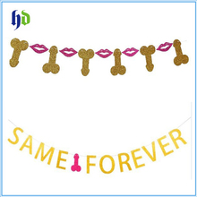 Gold Glitter Letters Hanging Bunting Hen Party Funny Bachelorette Banners Photo Prop Same Penis Forever Banner