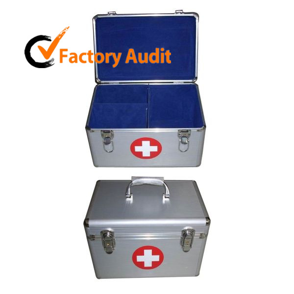 MLD-FA26a screen printing Silver Aluminum First Aid Case