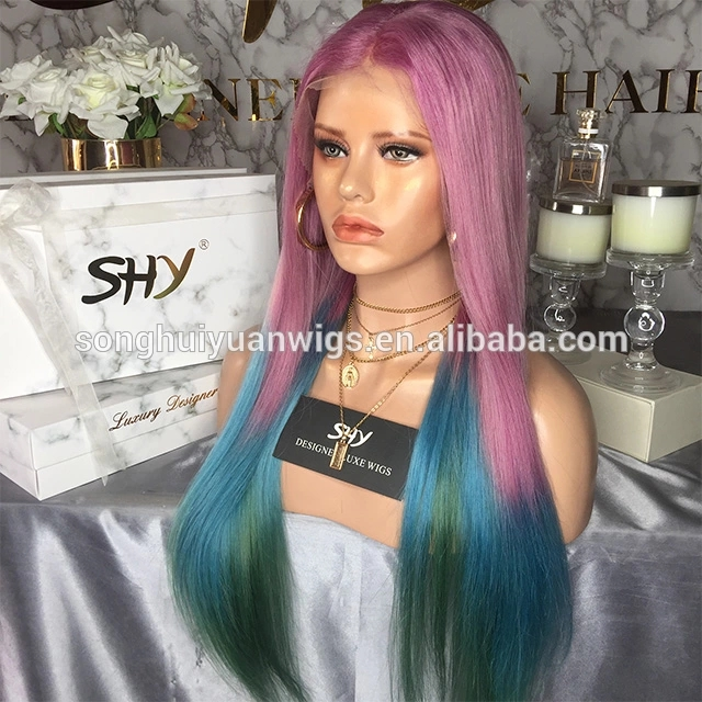3 Tone Ombre Straight Lace Front Human Hair Wigs Cuticle Aligned Hair