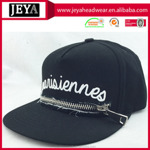 5 Panel 100% Acrylic snapback hats cap Custom front zip up letters embroidered baseball snapback hats cap