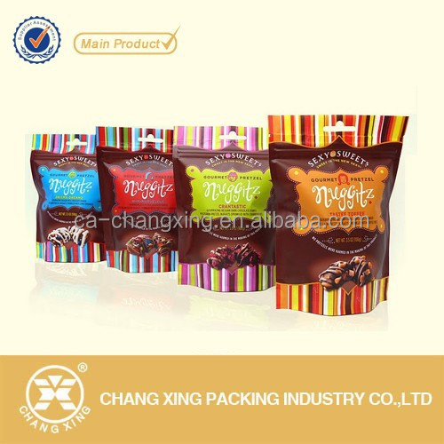 High barrier stand up chocolate/brownie packaging bag with zipper