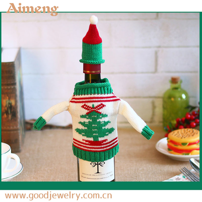 New Christmas products knit Christmas elk bottle with sweater red wine cover