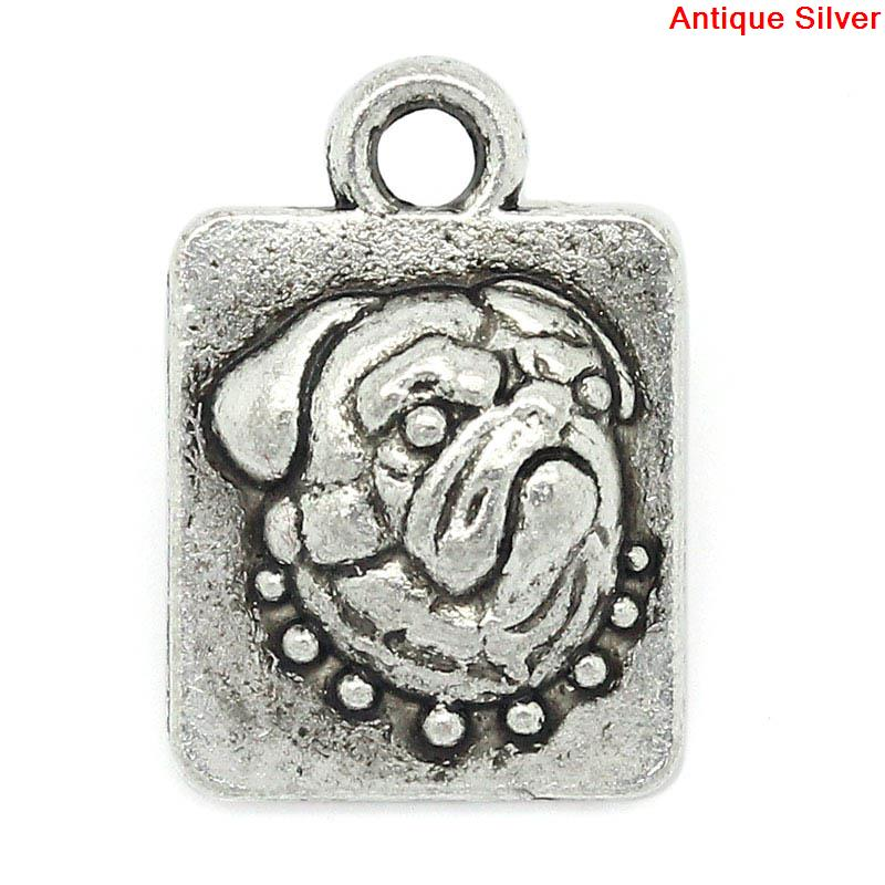 Charm Pendants Rectangle Antique Silver Pug Dog Pattern Carved 15x11mm,40PCs,8seasons