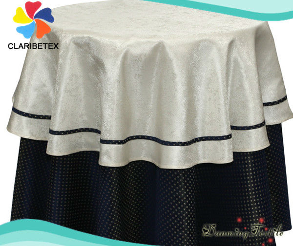 100% Poly Top Quality Damask Table Linen / Damask Table Overlay/ Jacquard Tablecloths