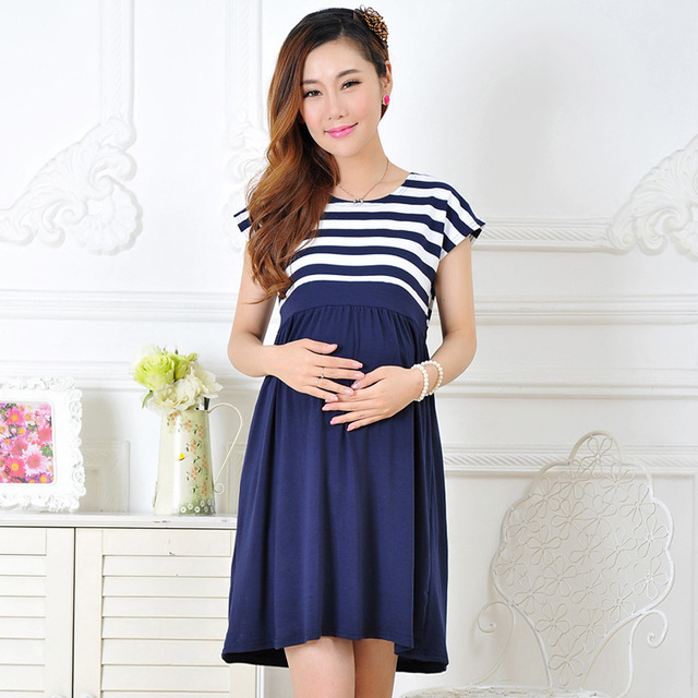 Wholesale Casual Cotton Maternity Dresses,Ladies Stripe Pregnant Dresses