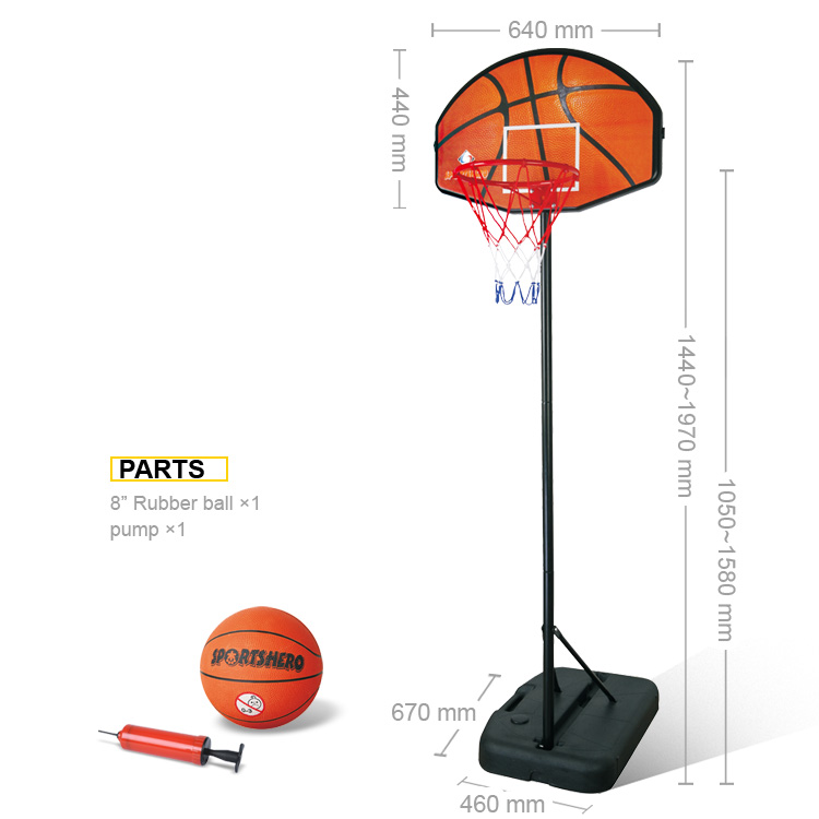 Adjustable Basketball Hoop Stand Basketball Equipment with Rubber Ball