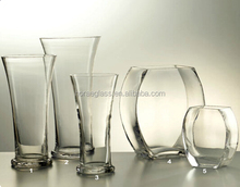 Handmade clear special shaped glass vase/flat round flower decoration glassware