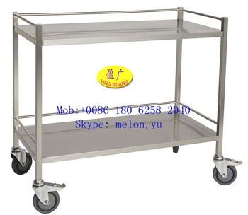 Stainless Steel 304 Hospital Instrument Trolley 2 Level with Rails