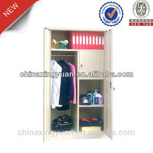 Fashion KD large double swing door metal wardrobe for clothes storage