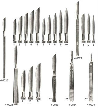 Scalpers SCALPEL HANDLE & BERGMANN DIEFFENBACH COLLIN VIRCHOW Operating Knives ent ear eye surgical instruments dental supplies