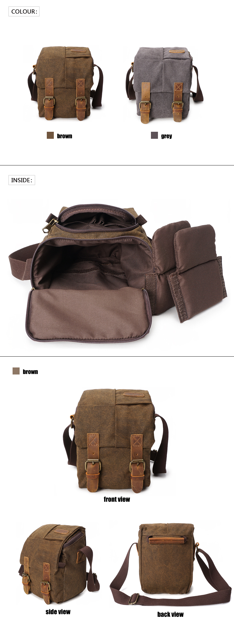 YD-3229 fashion outdoor travel waterproof leather canvas camera leather bags