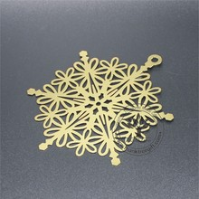 brass etching snowflake design metal Christmas ornament