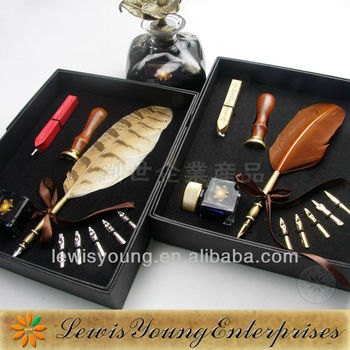 Penna del regalo d'affari set, naturale feather quill pen set