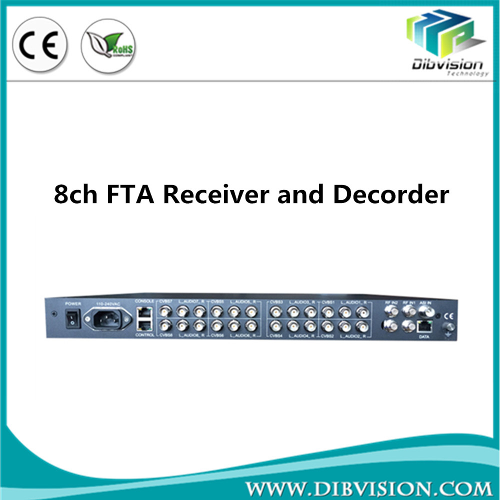 DVB-S/S2 RF/IP/ASI to 8x CVBS satellite decoder convert analog video to ip