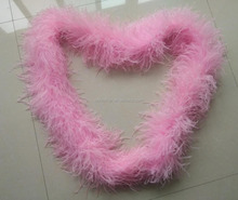 Cheap sale high quality 5 ply Fluffy Pink and Navy curly Ostrich Feather Boas