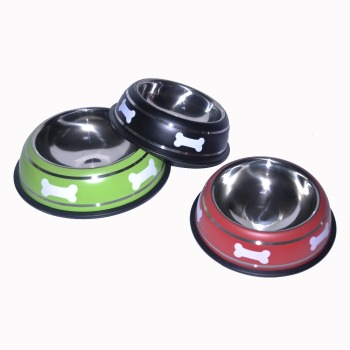 hot selling product Wholesale Stainless Steel Bone Print Travel Dog Food Water Bowl