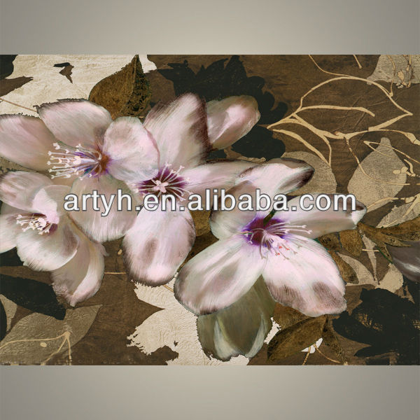 hot selling glass painting pictures of flowers for decor