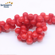 Wholesale natrural loose gemstone coral beads peanut shape 8mm natural red coral beads