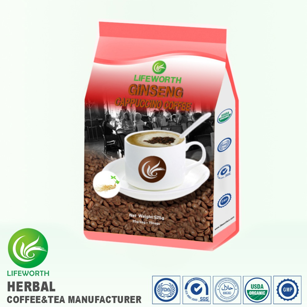 Factory directly supply power coffee bio herbs instant cappuccino ginseng coffee for men