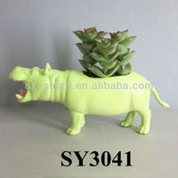 Green hippo animal terracotta garden pot