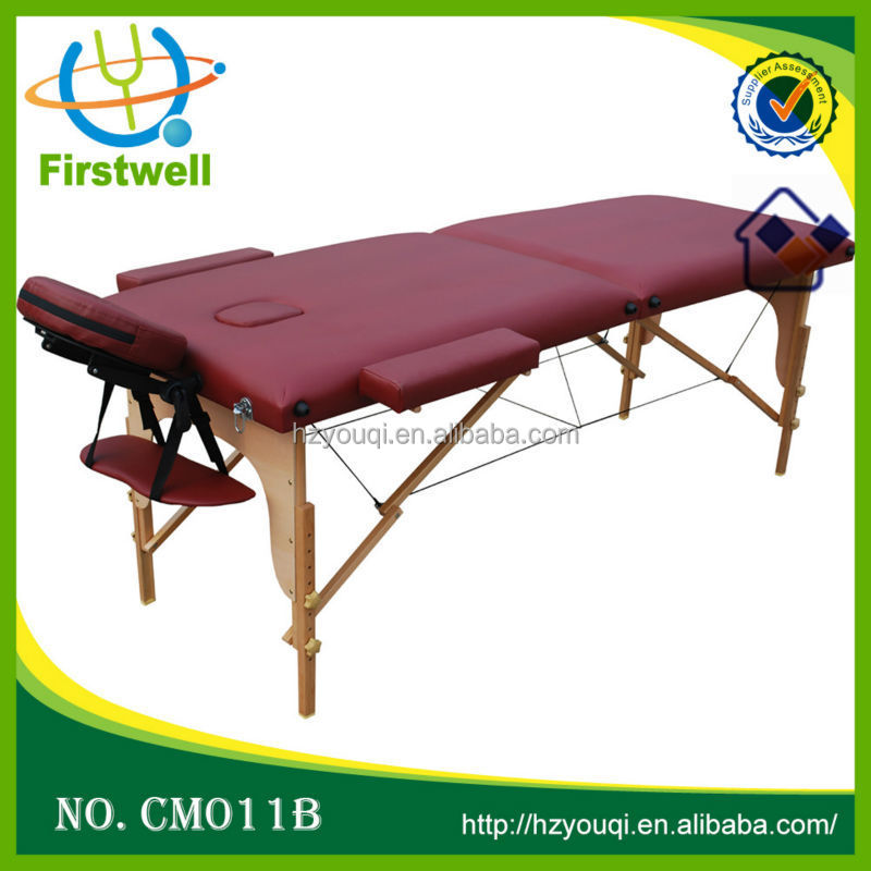 Eco-friendly wooden frame salon furniture portable folding wooden massage table massage bed
