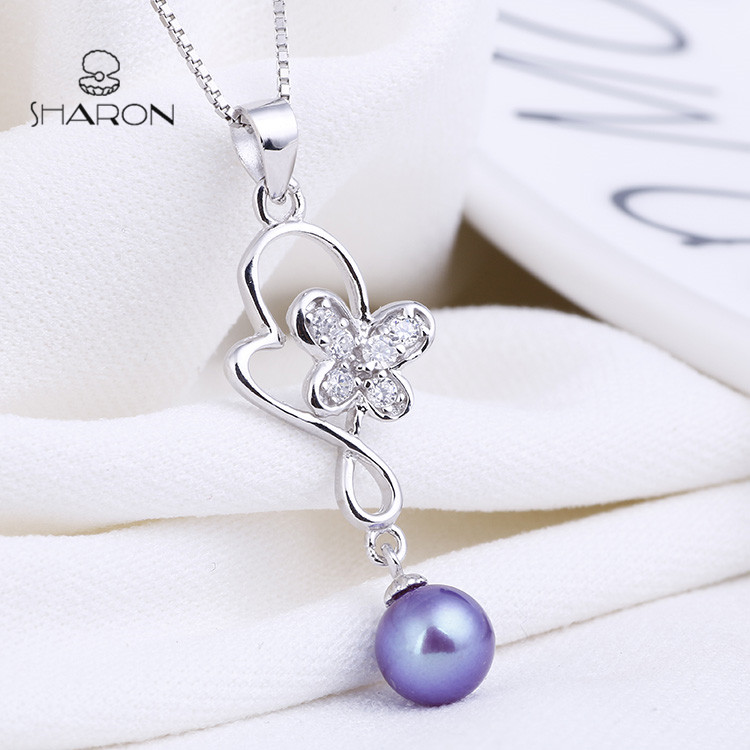 925 Sterling Silver Pendant Jewelry Blue Pearl Fashion Butterfly Jewelry Pendant