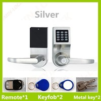 new design 4 in 1 home used electronic door lock with 2 RFID card 2 metal key 1 remote control .